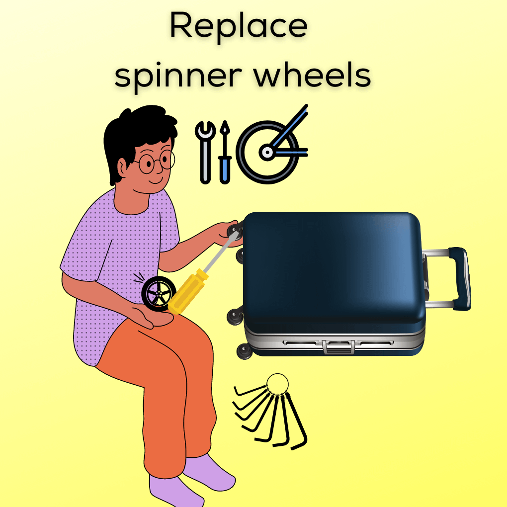 how to replace spinner wheels on luggage